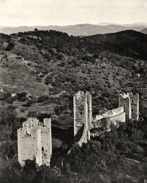 Associate Product VAR. Les ruines du chêteau d'Hyères 1903 old antique vintage print picture