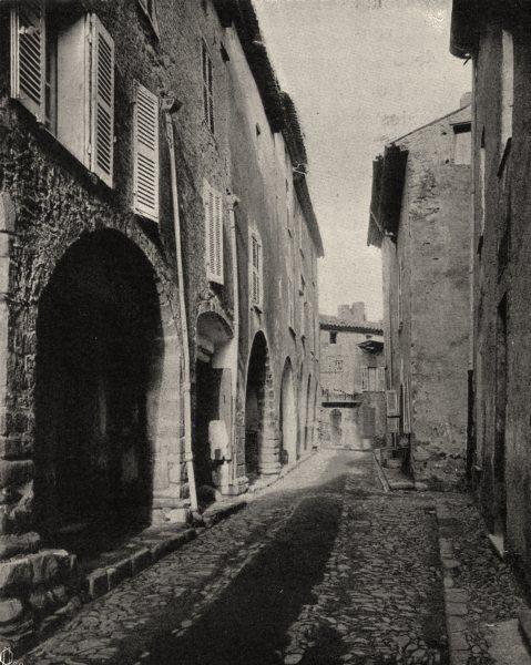 Associate Product VAR. La rue des Juifs, à Grimaud. SMALL. 1903 old antique print picture