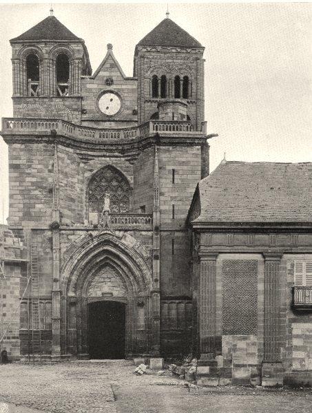 Associate Product ALLIER. Souvigny- L'église 1905 old antique vintage print picture