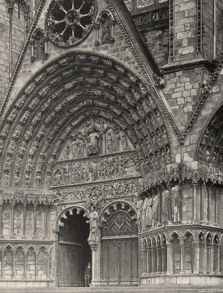 Associate Product CHER. Bourges- Cathédrale. portail central 1905 old antique print picture