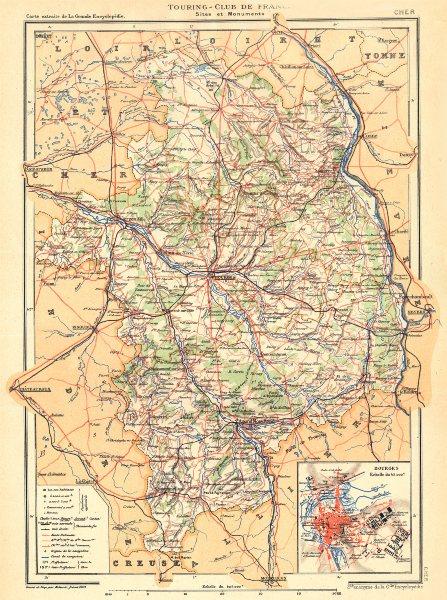 Associate Product CHER. Département; Inset city town map plan of Bourges 1905 old antique