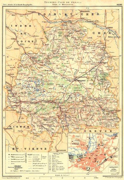 Associate Product INDRE. Département. Touring Club France Sites Monuments; Châteauroux 1905 map