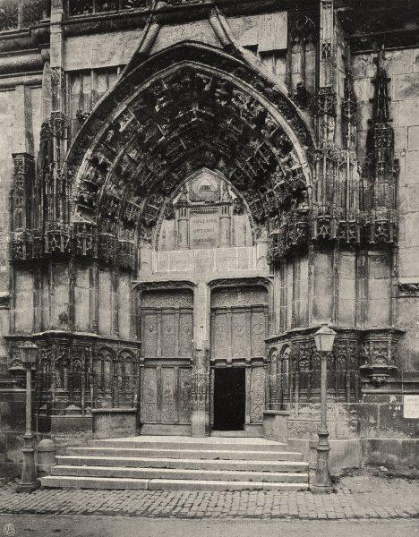Associate Product YONNE. Auxerre- Porche central de la cathédrale 1905 old antique print picture