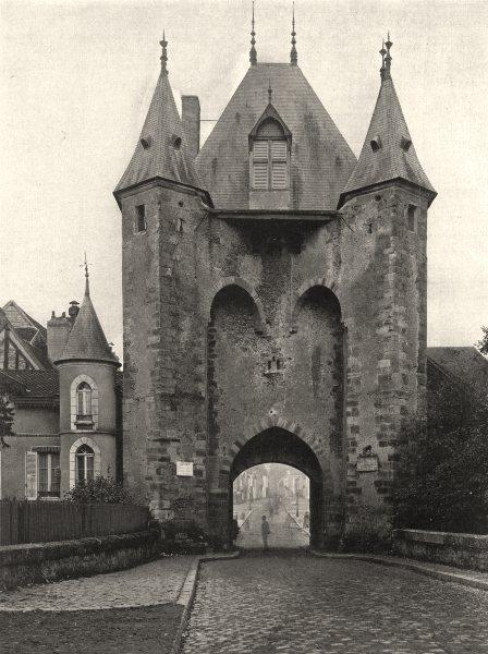 Associate Product YONNE. Villeneuve-sur-Yonne- Porte de Sens 1905 old antique print picture