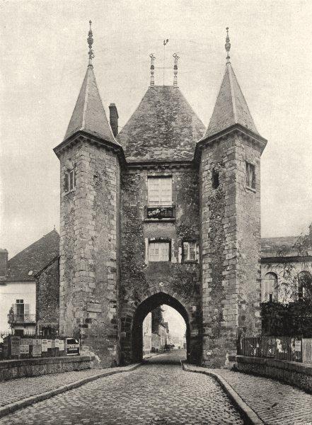 Associate Product YONNE. Villeneuve-sur-Yonne- Porte de Joigny 1905 old antique print picture