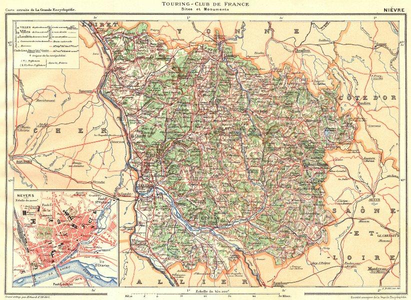 Associate Product NIÈVRE. Département. Inset city town map plan of Nevers 1905 old antique