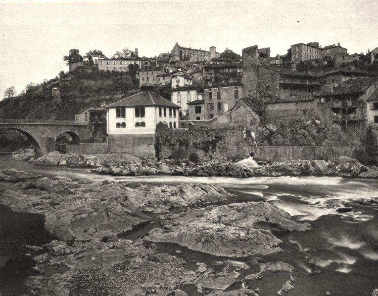 ARIÈGE. Saint-Lizier- Vue générale 1903 old antique vintage print picture
