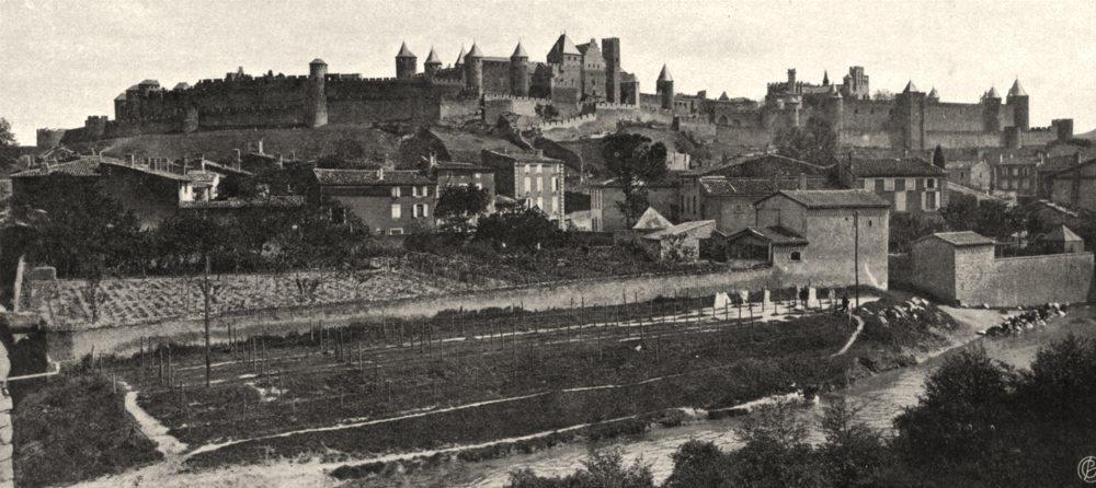 Associate Product AUDE. Carcassonne- La Cité, vue prise du pont Vieux. SMALL. 1903 old print