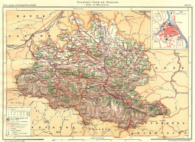 Associate Product ARIÈGE. Département. Ariège.  Inset city town map plan of Foix 1903 old
