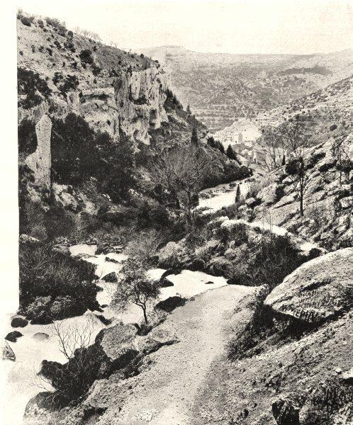 Associate Product VAUCLUSE. La vallée de la Sorgue, à Vaucluse 1902 old antique print picture