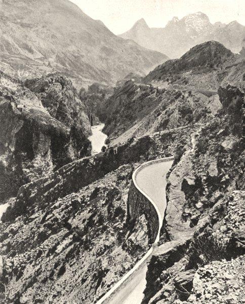 Associate Product ALPES-DE-HAUTE-PROVENCE. La route de Barcelonnette à Prunières 1902 old print