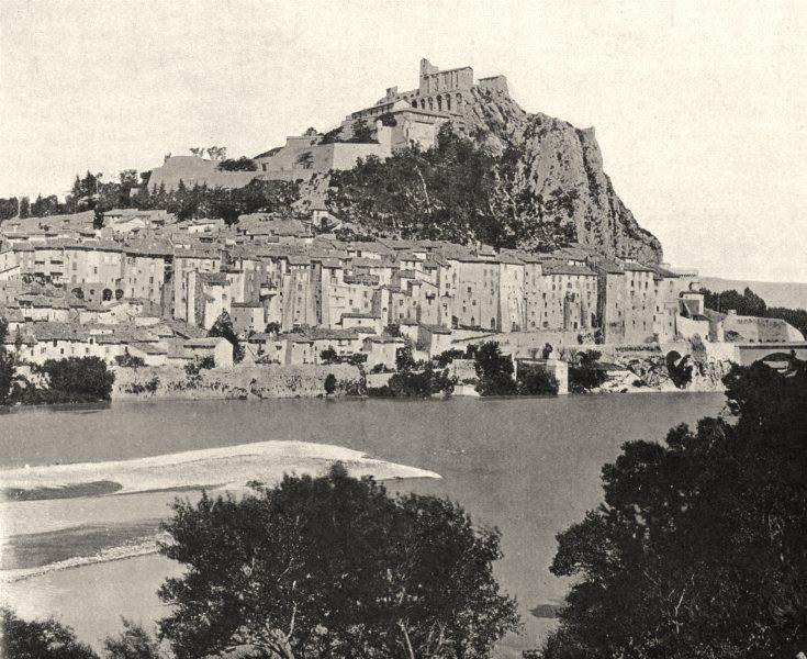 ALPES-DE-HAUTE-PROVENCE. Vue générale de Sisteron 1902 old antique print