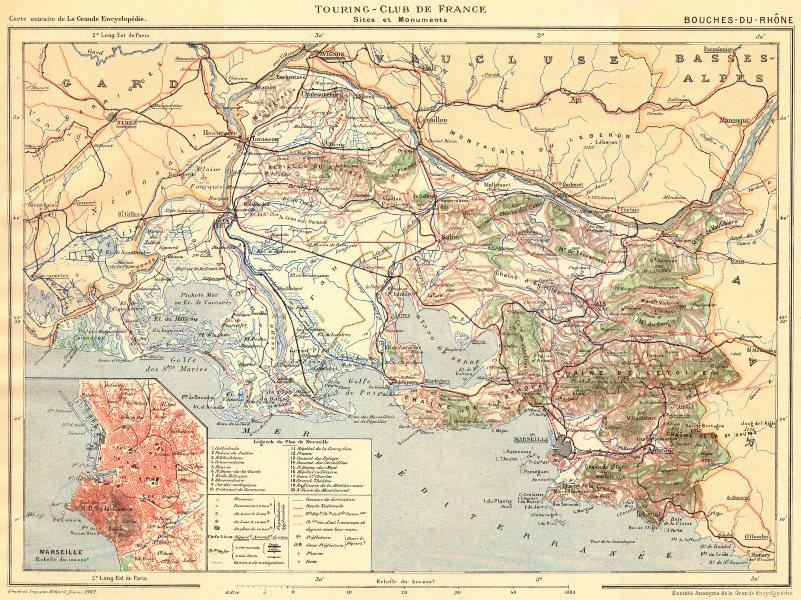 Associate Product BOUCHES-DU-RHÔNE. Département. Inset city town map plan of Marseille 1902