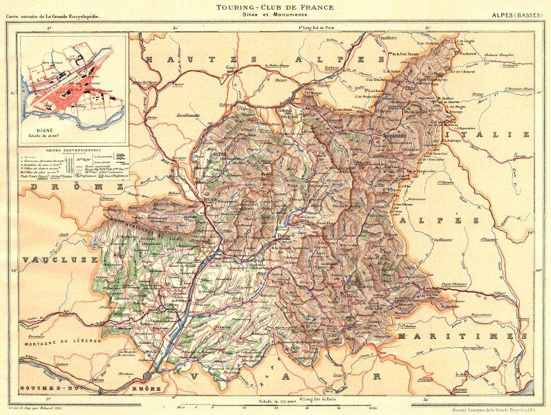 Associate Product ALPES-DE-HAUTE-PROVENCE. Département. Inset city town map plan of Digne 1902