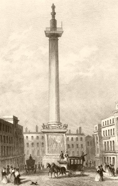 Associate Product CITY OF LONDON. The Monument. DUGDALE c1840 old antique vintage print picture