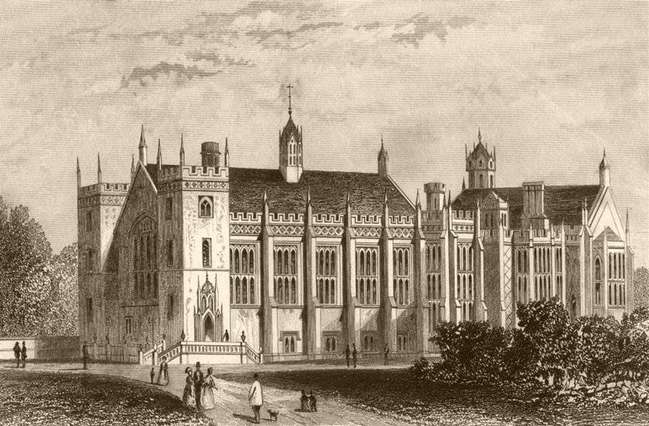 Associate Product LINCOLN'S INN FIELDS. New Hall and Library. DUGDALE c1840 old antique print