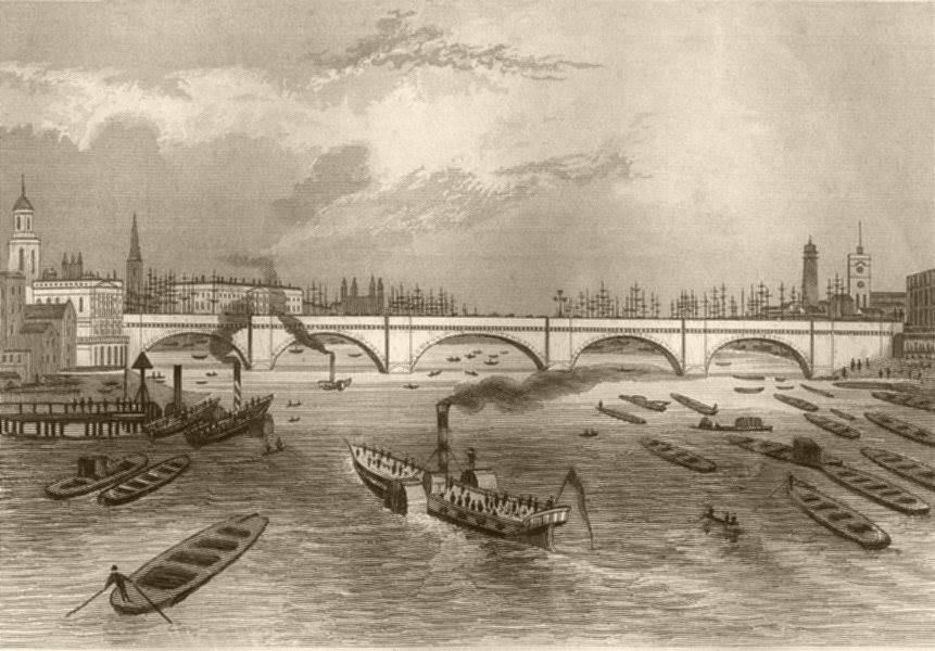 Associate Product LONDON BRIDGE. Attractive view. DUGDALE c1840 old antique print picture