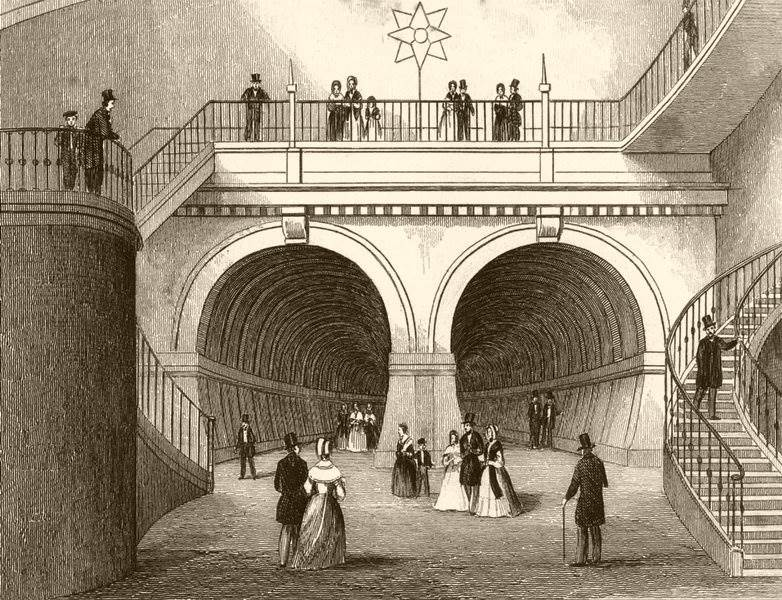 Associate Product LONDON. Thames Tunnel from the circular staircase. Overground. DUGDALE c1840