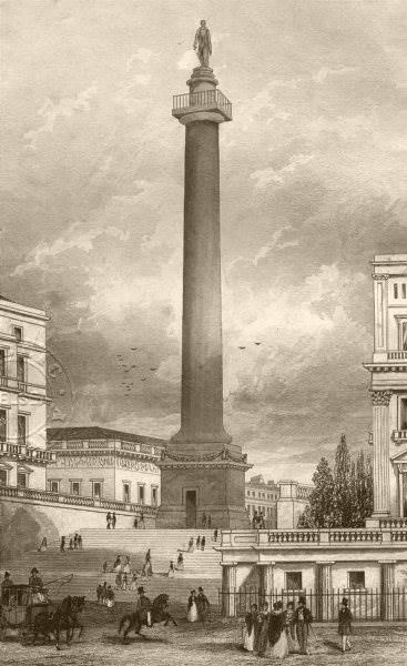 Associate Product ST JAMES'S. The Duke of York's column from St James's Square. DUGDALE c1840
