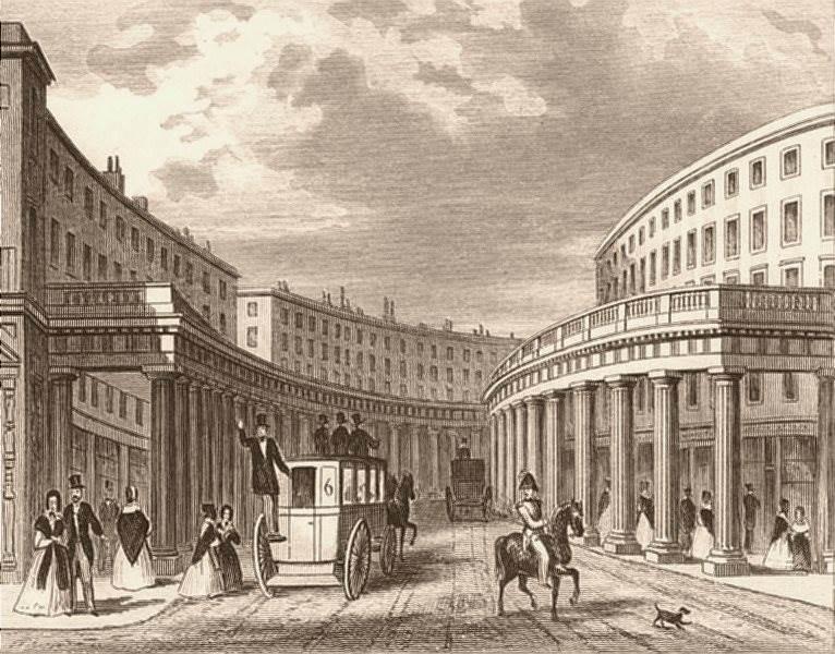 Associate Product REGENT STREET. The Quadrant. London. DUGDALE c1840 old antique print picture