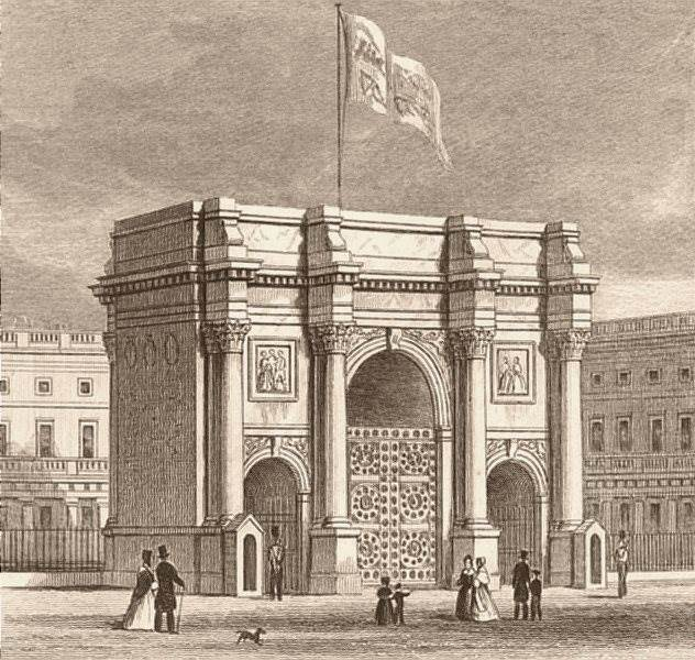 Associate Product MARBLE ARCH. In its original location outside Buckingham Palace. DUGDALE c1840