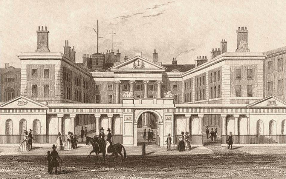 Associate Product WHITEHALL. The Admiralty. London. DUGDALE c1840 old antique print picture