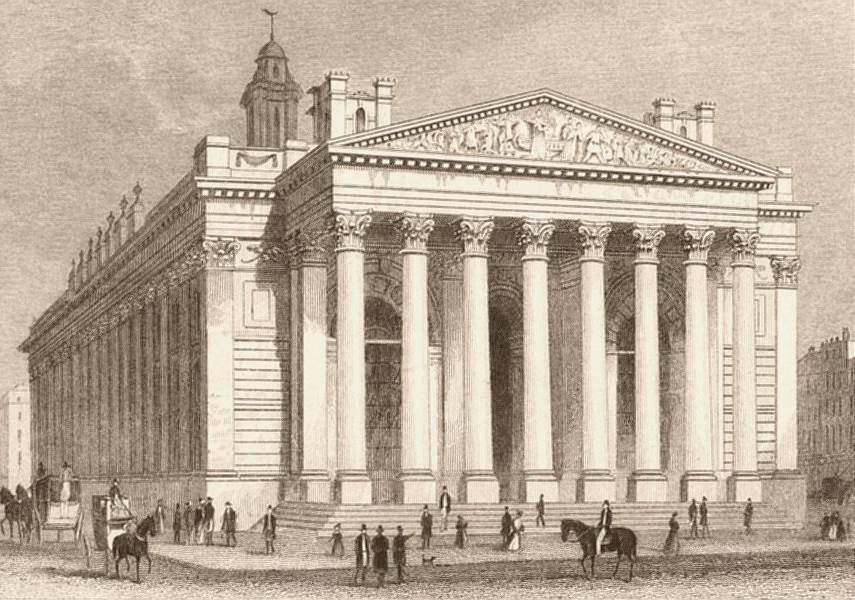 Associate Product CITY OF LONDON. New Royal Exchange. DUGDALE c1840 old antique print picture