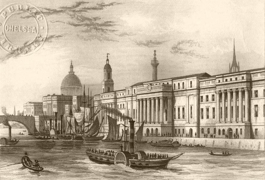 LONDON. The Custom House. DUGDALE c1840 old antique vintage print picture