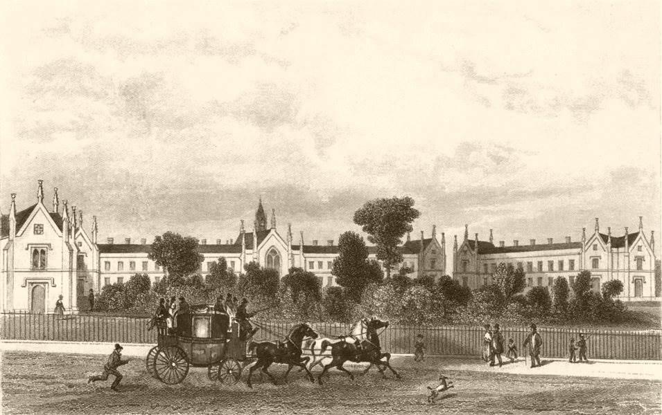 Associate Product HIGHGATE HILL. Whittington's Alms Houses. DUGDALE c1840 old antique print