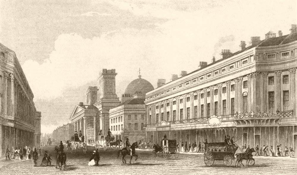 Associate Product REGENT STREET. From Oxford Circus. DUGDALE c1840 old antique print picture