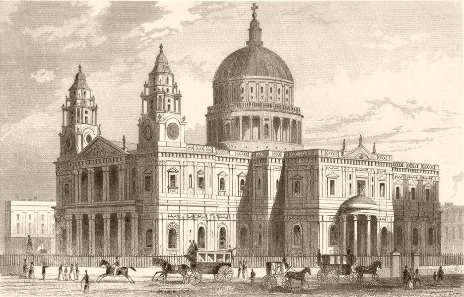 Associate Product ST PAUL'S CATHEDRAL. Attractive view. London. DUGDALE c1840 old antique print