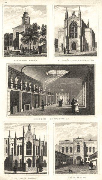 Associate Product PADDINGTON. Church; St John's; Exchange & Baker Street Horse Bazaar 1832 print