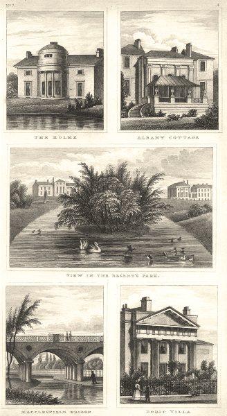 Associate Product REGENT'S PARK. The Holme; Albany Cottage; Macclesfield bridge; Doric Villa 1832