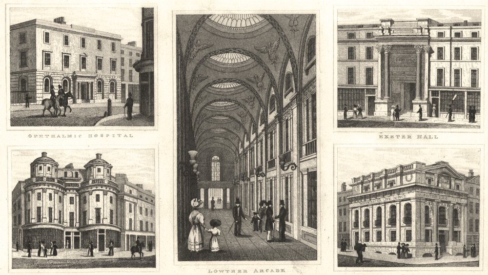 Associate Product STRAND.Ophthalmic Hospital;Lowther Arcade;Exeter Hall;British Fire Office 1832
