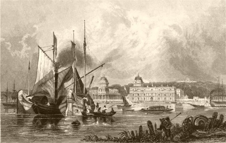 Associate Product GREENWICH. Attractive view. London. Kent. DUGDALE c1840 old antique print