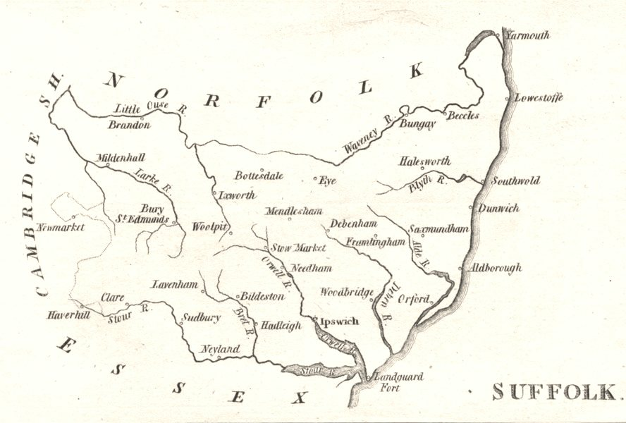 Associate Product SUFFOLK. Aikin. Scarce small county map. (5th edition)  1803 old antique