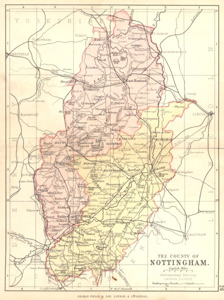 Associate Product NOTTINGHAMSHIRE. Notts. Philip. Coloured. Small county map.  1876 old