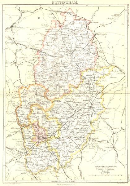 NOTTINGHAMSHIRE. Notts Black. Nottingham 1892 old antique map plan chart