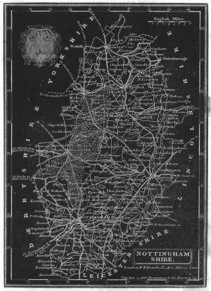 Associate Product NOTTINGHAMSHIRE. Pinnock. Unusual Map- Printed White on Black 1833 old