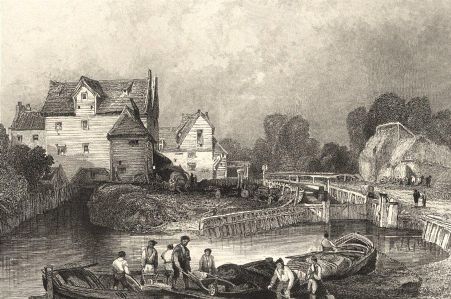 LONDON. Canals. Tottenham Mills. Henshall. Fine Steel Engraving 1838 old print