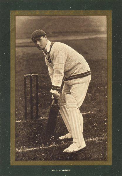 Associate Product CRICKET. Mr. G. L. Jessop shown batting (photographic) . Gilt border 1902