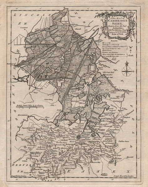 A new map of Cambridgeshire by Thomas Kitchin. County map 1764 old antique