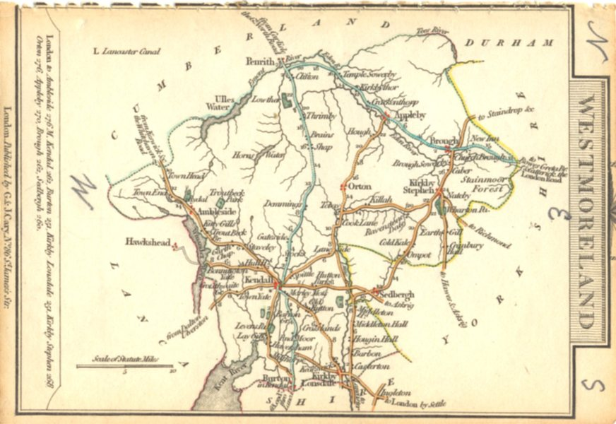 Associate Product WESTMORLAND. Cary. Miniature. Outline colour 1810 old antique map plan chart