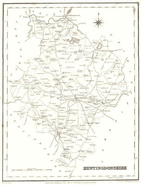 Associate Product HUNTINGDONSHIRE. Hunts. Lewis 1844 old antique vintage map plan chart