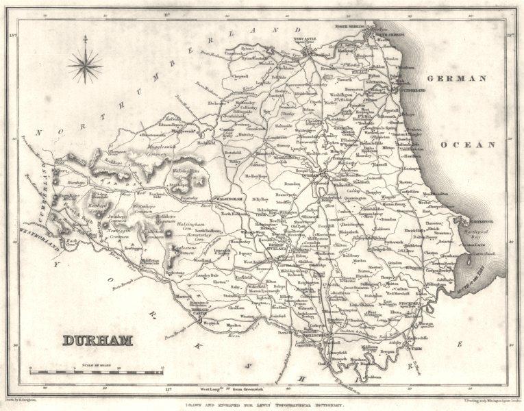 Associate Product DURHAM. Durham. Lewis 1831 old antique vintage map plan chart