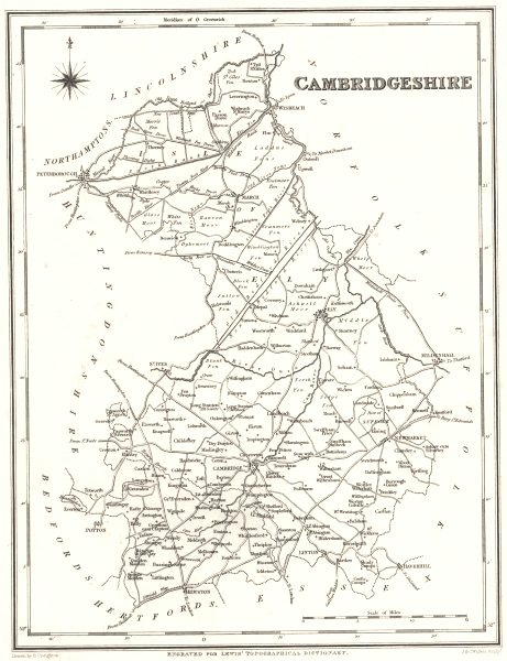 Associate Product CAMBRIDGESHIRE. Cambs. Lewis 1844 old antique vintage map plan chart