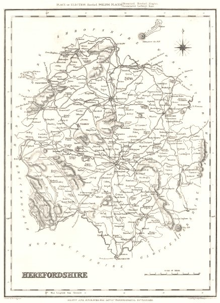 Associate Product HEREFORDSHIRE. Hereford. Lewis c1840 old antique vintage map plan chart