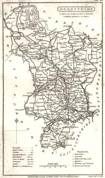 Associate Product DERBYSHIRE. Derbys Phillips. Cooperplate map. Hundreds detailed 1808 old
