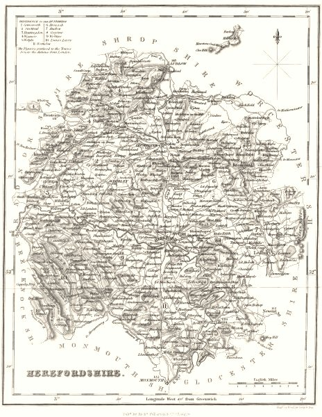 Associate Product HEREFORDSHIRE. Hereford Fullarton. 19C 1835 old antique vintage map plan chart
