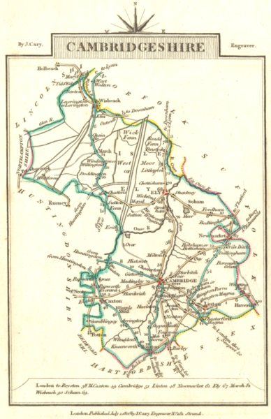 Associate Product CAMBRIDGESHIRE. Cambs. Cary. Miniature. Original outline colour 1806 old map